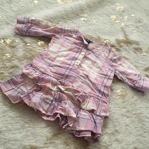 Baby Gap pastel plaid ruffle button shirt